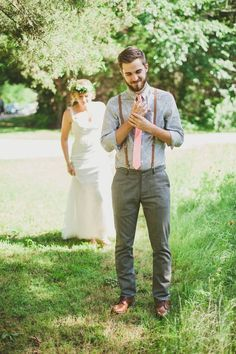 Image result for suspenders only casual wedding