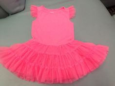 Old-Navy-neon-pink-tutu-cotton-knit-dress-girls-size-2T-worn-once