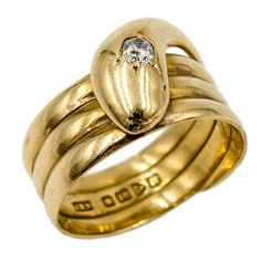 Antique English Diamond Gold Snake Ring | From a unique collection of vintage band rings at https://www.1stdibs.com/jewelry/rings/band-rings/