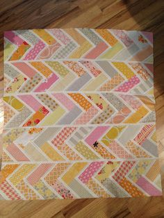 Darling baby quilt in herringbone or friendship or French braid design from Trillium Design - tutorial