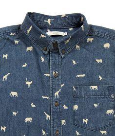 Multi Pattern Denim Long Sleeve Shirt