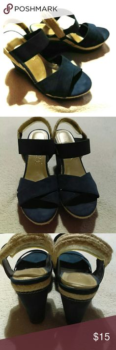 Studio Paolo suede wedge sandals Beautiful blue suede and canvas wedge, gently used. Shoes Wedges