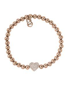 Michael Kors Pave Heart Bead Bracelet