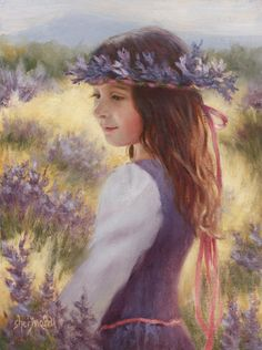 """Lavender Dreams"", by American artist - Sheri Dinardi, 12 x 9 inches, Oil on Linen, Available."