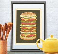 Küche Zitat Plakatdruck, Großer Hamburger Kunst  von ReStyleGraphic auf DaWanda.com