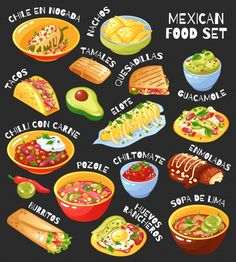Mexican Food Menu, Mexican Food Recipes, Taco Restaurant, Traditional Mexican Food, Cute Food Art, Food Banner, Tacos And Burritos, Mexico Food, Food Icons