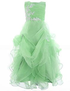 Fashion Plaza Girl's Organza Ruffle Flower Girl Pageant Communion Dress K0073 (2, Light Green)