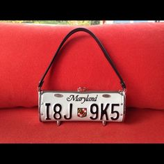 License plate purse recycle reuse pinterest license plates recycled license plate purse recycled maryland license plate purse with recycled inner tube strap and swarovski crystal clasp from little earth solutioingenieria Images