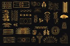 33 Hand Drawn Art Deco Elements Vol5 by FineScrap on @creativemarket