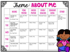 Tons of all about me themed activities and ideas. Weekly plan includes books fine motor gross motor sensory bins snacks and more! Perfect for back to school in tot school preschool or kindergarten. Daycare Lesson Plans, Lesson Plans For Toddlers, Daycare Curriculum, All About Me Activities For Toddlers, Infant Lesson Plans, Curriculum Planning, Pre K Curriculum, Lesson Planning, Infant Curriculum