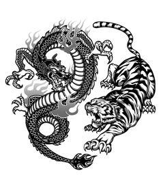 Kenpo Freestyle Academy on Behance - Kenpo Freestyle Academy on Behance – – Effektive Bilder, die - Dragon And Tiger Tattoo, Dragon Yin Yang Tattoo, Tiger Dragon, Dragon Tattoo For Women, Japanese Dragon Tattoos, Dragon Tattoo Designs, Dragon Art, Tiger Tattoo Back, Tiger Tattoo Small