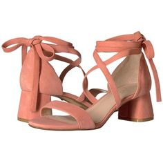 RAYE Angie (Peach) Women's Shoes ($190) ❤ liked on Polyvore featuring shoes, sandals, peach shoes, peach sandals, lace up shoes, wrap sandals and open toe sandals