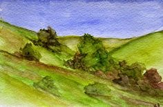 California Landscape Watercolor Painting of the by kathleendaughan, $45.00