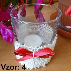 Svietnik sklenený s mašľou - Sviečka - S čajovou sviečkou (plus 0,10€), Vzor - Vzor 4