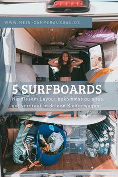 Platz im Camper - Bus Layout Surf Bus, Surfboard, Diy Van Conversions, Layout, Diy Camper, Campervan, Volkswagen, Jeep, Garden Design