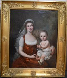 Painting By Johann Heinrich Wilhelm Tischbein (attributed To). Art Antique, 1800s Fashion, Mother And Child, Historical Clothing, Family Portraits, Oil On Canvas, Picture Frames, Regency, Sleeveless Dresses