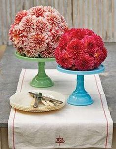 Fresh flower centerpiece on a cake stand