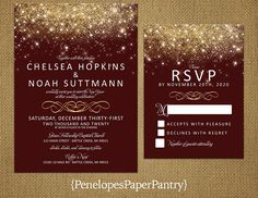 Elegant Burgundy and Gold Wedding InvitationGold Glitter PrintGold Fairy DustShimmeryCustomPrinted InvitationWedding Set Gold And Burgundy Wedding, Maroon Wedding, Wedding Sets, Elegant Wedding, Wedding Colors, Our Wedding, Dream Wedding, Trendy Wedding, Wedding Stuff