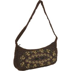 Moyna Handbags Purse Crescent Cup Sequin Flowers Brown - Moyna Handbags Fabric Handbags