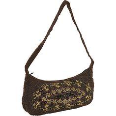 Moyna Handbags Purse Crescent Cup Sequin Flowers Brown - Moyna Handbags Fabric Handbags