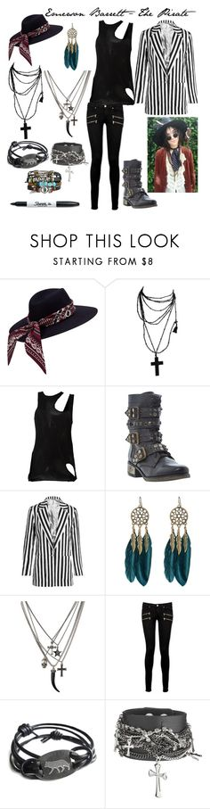 """Emerson Barrett - The Pirate"" by rhiannon-src ❤ liked on Polyvore featuring Sharpie, Unravel, Steve Madden, Topshop Unique, WithChic, Paige Denim, men's fashion and menswear"