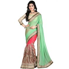 Mesmerizing Green Color Party wear & Designer Saree at just Rs.2999/- on www.vendorvilla.com. Cash on Delivery, Easy Returns, Lowest Price.