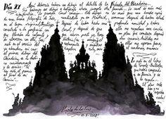 silhouette and writing.....DÍA 26: SANTIAGO DE COMPOSTELA. Fachada del Obradoiro