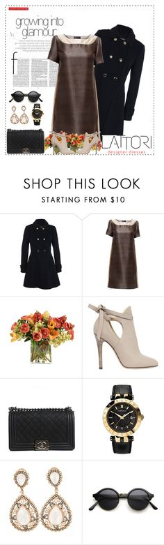 """LATTORI dress 7"" by mell-2405 ❤ liked on Polyvore featuring Miss Selfridge, Lattori, Distinctive Designs, Jimmy Choo, Chanel, Versace, dress, dresses and lattori"