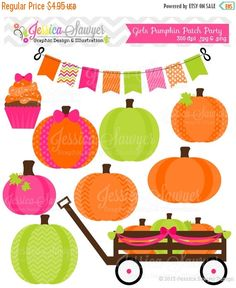 80% OFF - INSTANT DOWNLOAD girls pumpkin patch party clipart for scrapbooking cards invites  announcements