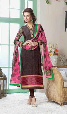 A delicate doll is what you look like in this brown crepe silk printed churidar kameez. The incredible dress creates a dramatic canvas with wonderful block print and resham work.  #PrintedCasualChuridarSuit
