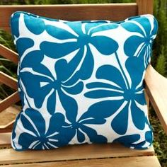 @Overstock - A bright and bold blue and white design is featured on these stain- and fade-resistant floral outdoor decorative pillows. Trimmed with matching cording, this set of pillows will add just the right touch of color to any deck or patio.http://www.overstock.com/Home-Garden/Penelope-Blue-White-Floral-22-inch-Square-Outdoor-Pillows-Set-of-2/6694563/product.html?CID=214117 $57.39