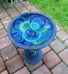 Blues and greens birdbath (Rebecca Naylor) Tags: Mosaic Birdbath, Mosaic Garden Art, Mosaic Flower Pots, Mosaic Pots, Mosaic Birds, Mosaic Glass, Diy Bird Bath, Bird Bath Garden, Mosaic Art Projects