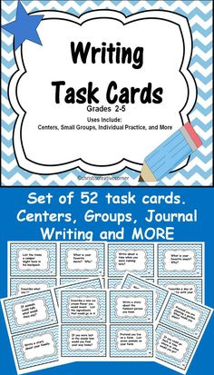 Set of 52 task writing task cards. Great for centers, small group instruction, journal writing and more!