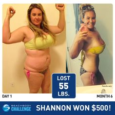 I love these transformations!!! Shannon Lost 55 LBS and Won $500! - The Team Beachbody Blog