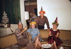 New Year's Party - 1961. Someone has thoughtfully protected the lounge cushions with plastic!  (From original 35mm Kodachrome slide transparency)