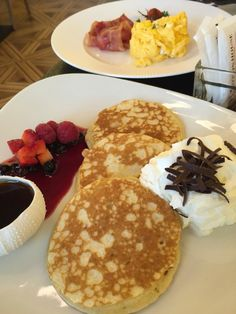 pancakes for breakfast at the Cotton House Hotel!