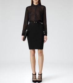 Reiss Karaline Women's Black Monochrome Bodycon Skirt