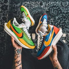 Que valent les Nike Sacai LDWaffle Multi Green & Blue ? New Sneakers, Air Max Sneakers, Sneakers Nike, New Shoes, Men's Shoes, Converse Shop, Sneaker Store, Basket Nike, Custom Shoes
