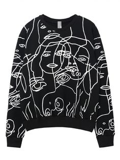Designer Clothes, Shoes & Bags for Women Printed Sweatshirts, Printed Shirts, Pop Art Fashion, Fashion Design, Street Fashion, Women's Fashion, Painted Clothes, Streetwear Fashion, Diy Clothes