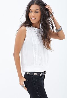 Pintucked Lace Top | FOREVER21 - 2000122446