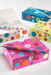 Notepaper & pencil in dotty handmade paper box