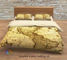 Vintage map bedding, Vintage old map America duvet cover, Antique map queen / king / full Bedding Set, Vintage steampunk map Duvet cover set