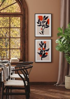 Gorgeous vivid illustration prints of fruit trees - perfect for any dining room or kitchen.