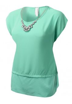 Short Sleeve Chiffon Blouse with Removable Rhinestone Necklace - New Arrival