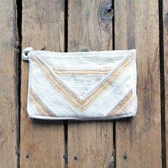 Vintage Woven Chevron Shoulder Bag or Clutch / Boho Style