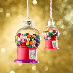Mini Gumball Machine Christmas Ornament Tutorial, DIY and Crafts, How to make mini Gumball Machine Christmas ornaments. This easy craft tutorial will make the most adorable gifts for your next crafts night. Christmas Ornament Crafts, Noel Christmas, Xmas Crafts, Homemade Christmas, Christmas Gifts, Christmas Decorations, Diy Ornaments, Christmas 2019, Christmas Shopping