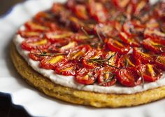 Polenta Tart with Garlicky White Bean Spread and Roasted Cherry Tomatoes | The Full Helping