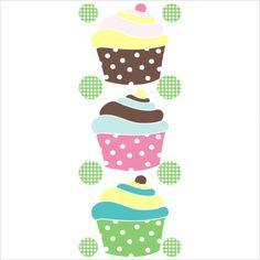 Art-A-Peel Tween Cupcake Patch Wall Decal