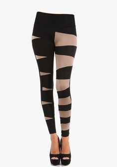 These leggings feature an opposite design.One leg features a wide strip design,while the other leg features a zig zag design.-36