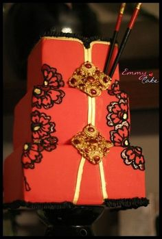 red and gold Chinese dress cake Crazy Cakes, Fancy Cakes, Cute Cakes, Pretty Cakes, Beautiful Wedding Cakes, Gorgeous Cakes, Amazing Cakes, Square Wedding Cakes, Wedding Cake Designs